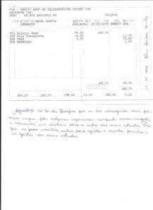 Bilhete ex-votivo escrito em folha de pagamento.